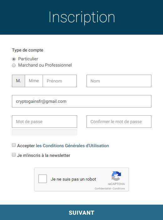 paymium formulaire inscription