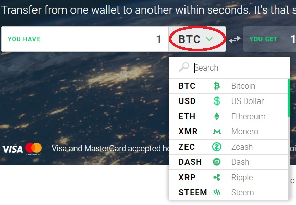 changelly choix crypto devises