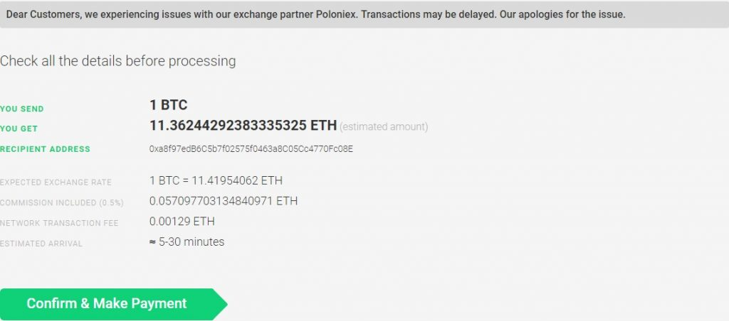 changelly confirmation