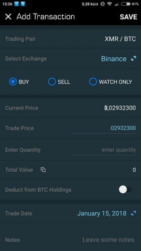 blockfolio transaction