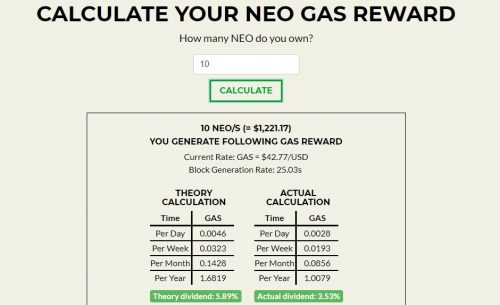 NEO GAS Calculation