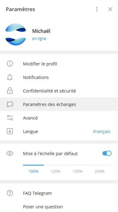 Modifier le profil Telegram