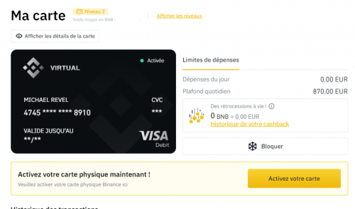Activer carte binance